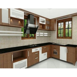 Residential L-Shaped Modular Kitchen, Warranty: 1 Year