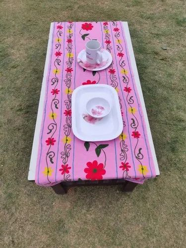 Cotton Multicolor Indian Embroidery Table Cloth Handmade Runner, For Home