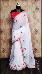 Riva Enterprise Women's Pure Linen With Designer Embroidered Exclusive Saree With Printed Blouse
