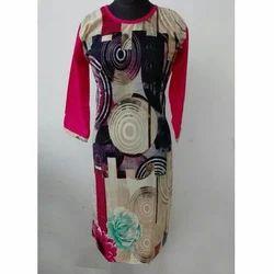 Ladies 3/4th Sleeve Fashionable Printed Kurti, Size: S & M