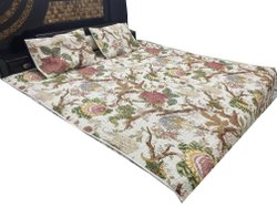 Floral Design Quilted Bed Cover With Pillowcases