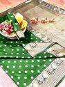 Banarasi Silk Casual Wear Green Saree With Blouse Piece