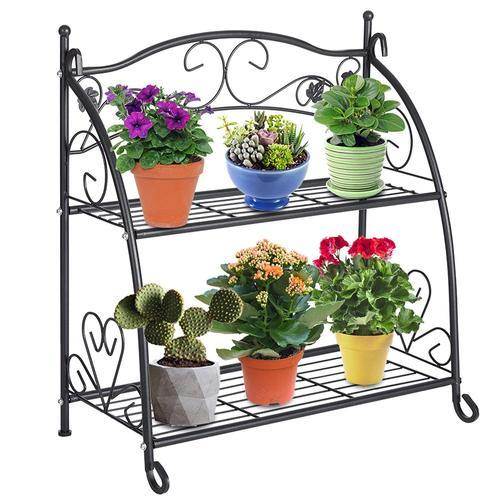 ea7e041f88f2 2 Tier Metal Plant Stand Storage Rack Shelf Pot Holder for Indoor Outdoor  Use, Black