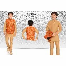 Cotton, Rayon Rust (Jacket) Kids Ethnic Wear Kurta Pajama