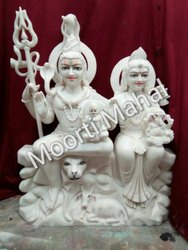 Marble Gauri Shankar Statue With Ganesh