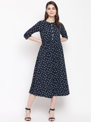 Women Dress Navy Blue Flared