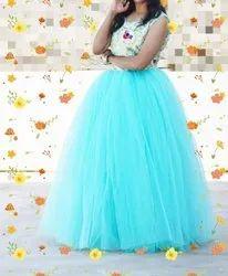 Party Wear Sky blue Designer Net Evening Gown