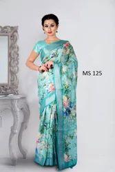 Linen Saree With Digital Print Bhagalpuri