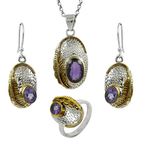925 Sterling Silver Amethyst 4 Piece Set
