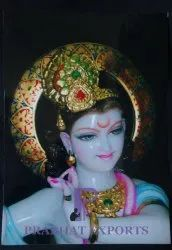 Gold Plated Marble Lord Krishna Statue