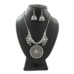 Silver Plated Necklace with Jhumka