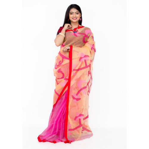 KartSell Party Wear Handloom Resham Silk Maslin Jamdani Saree, with Blouse, 5.5 M