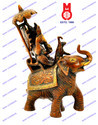 Ganesh Sitting On Elephant W/Umbrella Statue