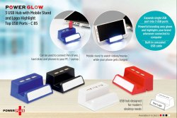C85 - Powerglow 3 USB Hub With Mobile Stand And Logo Highlight Top USB