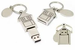 House Shape Metal Pendrive, For Data Storage, Memory Size: 4-64 Gb