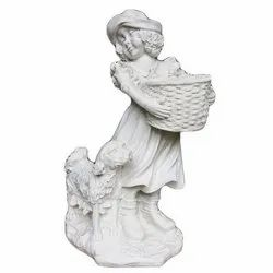 Marble Girl Statue With Basket