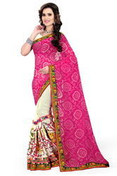 Women''S Half & Half Bandhej Saree