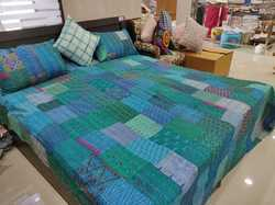 Quilted Vintage Patchwork Bedspread in Patola Silk & Cotton