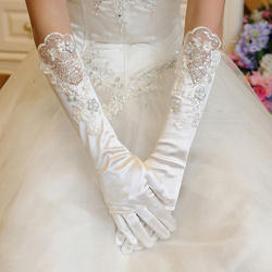 White Embroidered Wedding Gloves