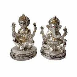 Silver Resin Laxmi Ganesha Statue, Packaging Type: Box