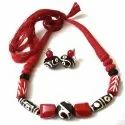 Chemical And Glass Bead Red Beads Fancy Necklace, Casual Wear