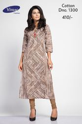 Half Sleeve Straight Printed Kurti