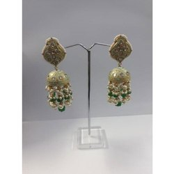 22 Carat Gold Wedding Wear Natural Uncut Diamond Polki Jhumka Earrings