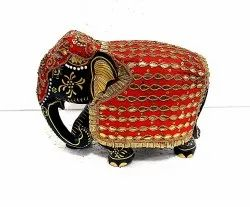 Wooden Elephant With Cloth Work