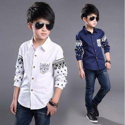 Cotton Regular Wear Boys Shirts