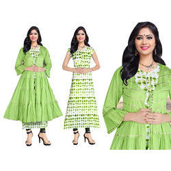 Ladies Cotton Printed Green Kurti