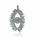Baguette Diamonds Silver  Evil Eye Charm Pendant
