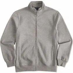 Full Sleeve Woolen Grey Men Zipper Promotional Jacket