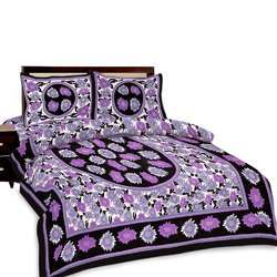 Floral Printed Double Bed Sheet And Pillow Covers 472