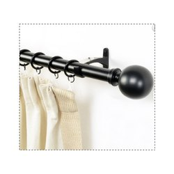 Basics Ball Black Extendable Curtain Rod