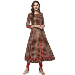 Yash Gallery Flared Burgundy Womens Anarkali Kurta