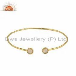 Designer Gold Plated 925 Silver Ethiopian Opal Gemstone Bangles
