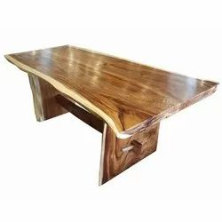 Rudra Suar Wood Live Edge Dining Table, Size/Dimension: 72x36x31 Inch