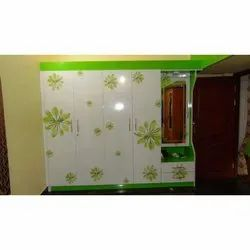 White, Green Wooden Wardrobe With Mirror, for Bedroom