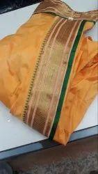 Satin Plain Kasota Maharashtrian Saree, 5.5 m (separate blouse piece)