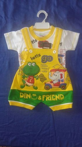 Yellow And White Cotton Boys Romper