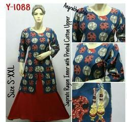 Rayon Inner with Printed Cotton Upper Kurti