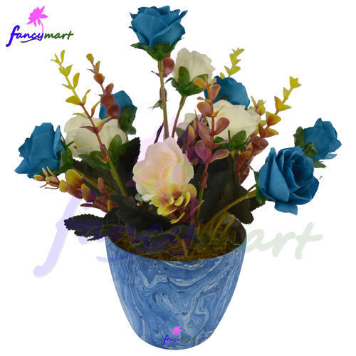 artificial flowers arrangement of roses in marble finish pot at rs