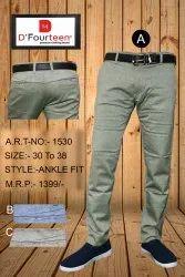 Men Ankle Fit Cotton Pants
