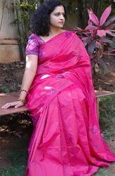 Kasuti Wedding Wear Magenta Silk Saree, With Blouse Piece