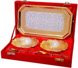 Festival Gift Silver and Gold Plated Bowl Set