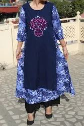 Stitch Party Wear Rayon Embroidered/Printed Gown