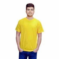 Yellow Half Sleeve Men Cotton Plain T Shirt, Size: S-XXL, Packaging Type: Packet