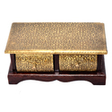 Wooden Brass Coated 2 Chest of Drawers , Multi-Purpose Use, Home Decor