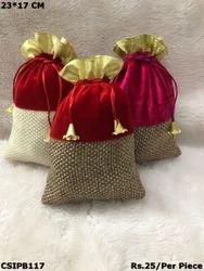 Jute and velvet Potli Bags