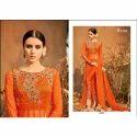 Ladies Chiffon Round Neck Orange Embroidered Kurti, Size: Xl